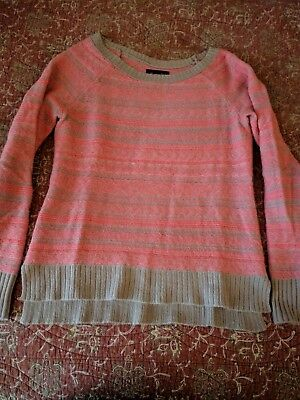 American Eagle Sz M Nordic Fair Isle Sweater Pink Gray Mohair Wool Blend Soft