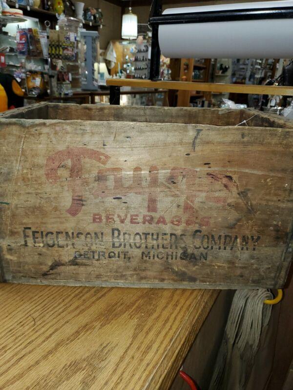Vintage FAYGO Beverages Soda Pop Wood Crate Detroit MI, Feigenson Brothers