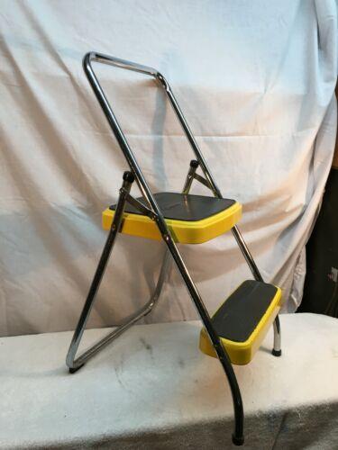 Vintage Mid Century Modern Cosco Yellow Folding Step Stool Chair Kitchen Garage