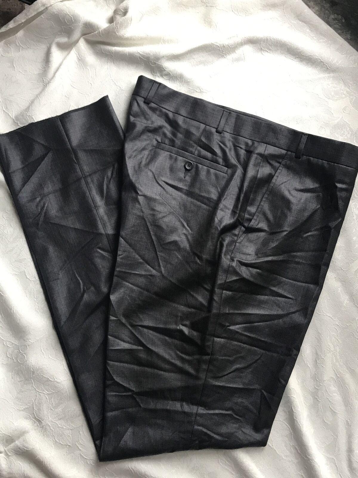 Kenneth Cole Reaction Dress Pants Flat Front Gun Metal Mens 35X32 New