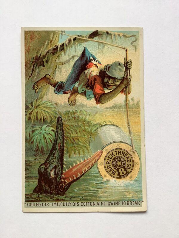 MERRICK THREAD 1887 Victorian Trade Card Black Americana Fishing