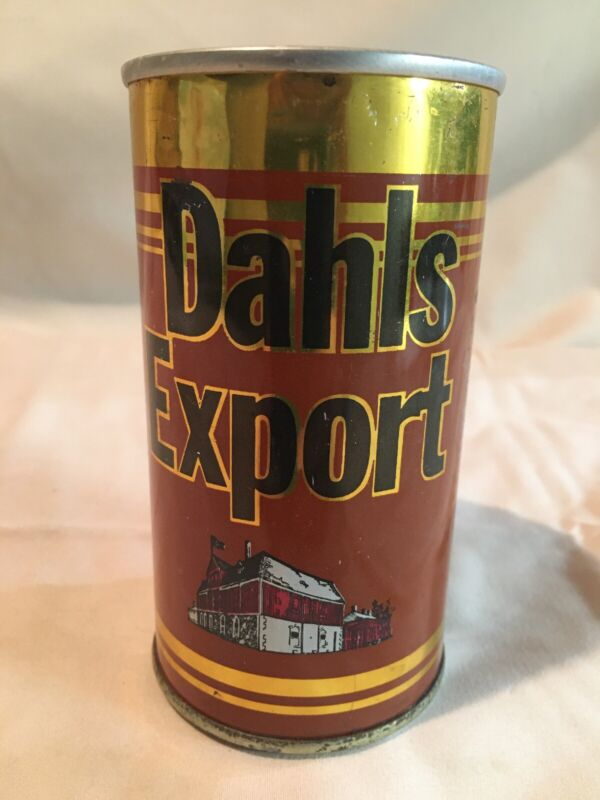 Vintage Dahls Export Beer Can Trondheim Norway Straight Side Can Bottom Opened!