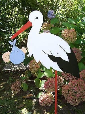 Storch (80cm aufgebaut)  aus Holz mit Bündel (rosa, blau, gelb oder grün)  (Storch Mit Baby)