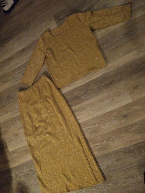 Vintage Lame Women's Top Skirt Set Stretch knit Gold Yellow Size Large/XL