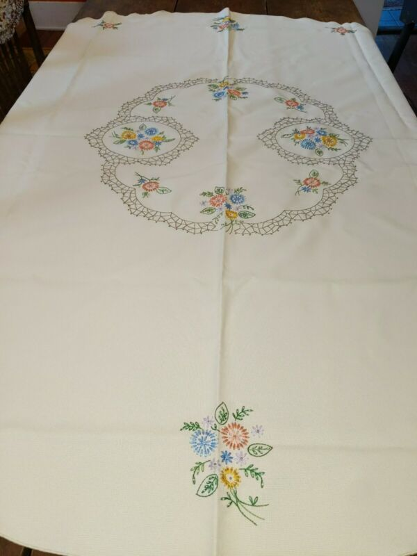 Round Embroidered Tablecloth