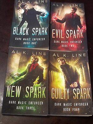 DARK MAGIC ENFORCER~BOOK ONE - FOUR~4 G/C PAPERBACK BOOKS~by AL  K. LINE~SPARK - Dark Magic Book