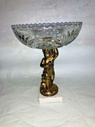 "9 1/2"" Crystal and Brass Cherub w/ Marble Base Compote Candy Dish"