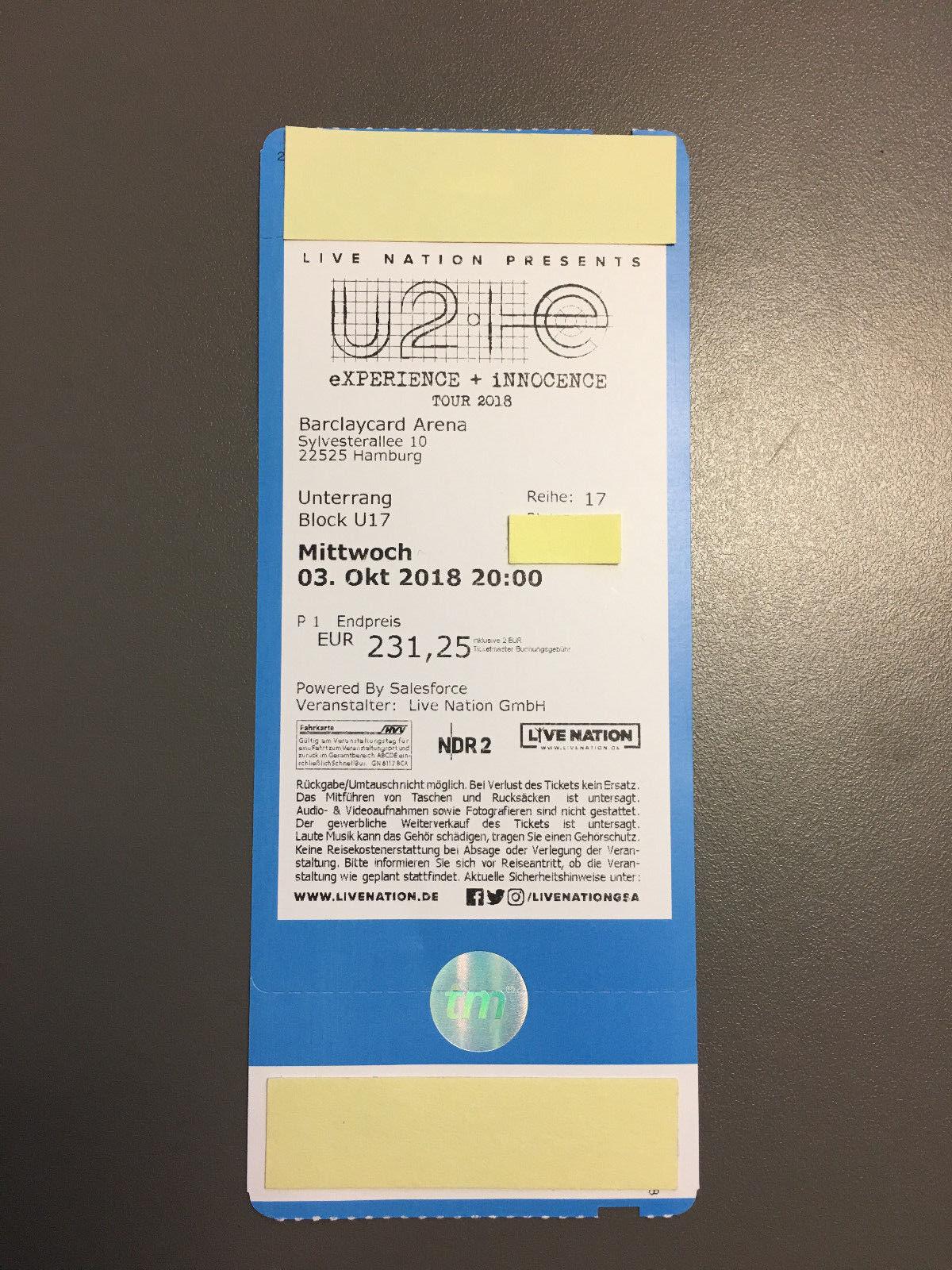 U2 Hamburg - 3.10.18 - Kategorie 1 - Unterrang U17 - TOP-Ticket