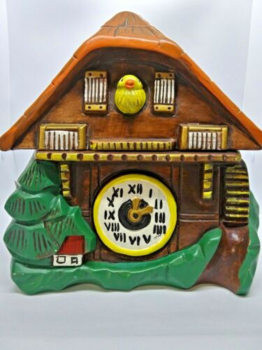 Vintage Ceramic Mountain Chalet Coo Coo Clock Jar 1960s, Numbered  840, Unmarked