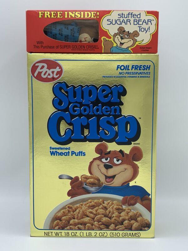 Vintage Super Golden Crisp Cereal And Sugar Bear Toy Unopened 1987 New Old Stock