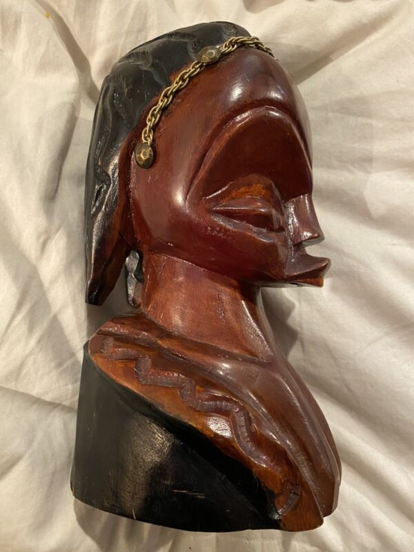 African Hand Carved Mahogany Female Head Bust