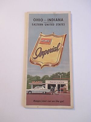 Vintage ATLANTIC IMPERIAL OHIO INDIANA Gas Service Station Road Map~1960 Census