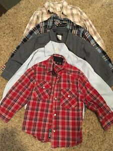 Lot of 5 long sleeve button up shirts size 4