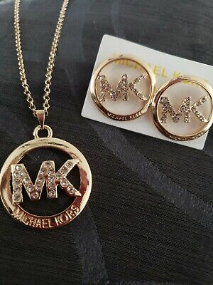 Michael Kors MK 14k Gold Plated  necklace & earing set