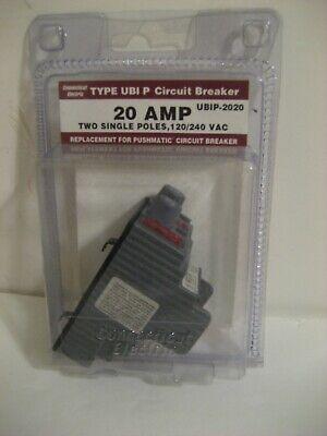 Connecticut Electric Pushmatic Ubip-2020 Circuit Breaker 20 Amp Two Single Poles