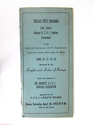 1953 Official Schedule 26th Annual Midwest KSKJ Bowling Tournament Wilwaukee WI