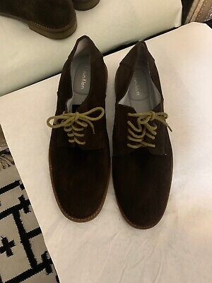 Calvin Klein Mens Suede Dress Shoes Size 10 Chocolate Brown Lace