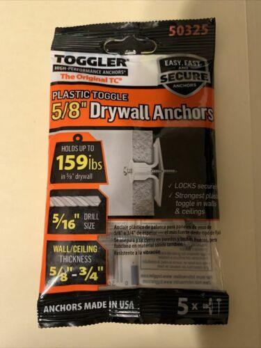 TOGGLER Plastic Toggle 5/8 Inch Drywall Anchors - 50325
