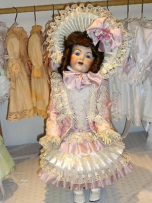 Französisches Puppenkleid Jacke, Hut, antik Stil, für ca. 65cm gr. Puppe Unikat