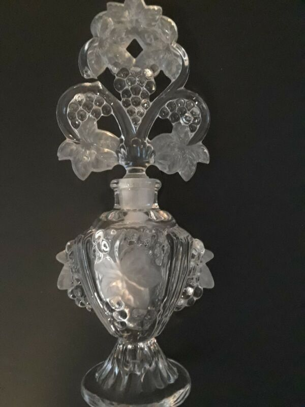 Vintage Frosted Perfume Bottle  With Grapes
