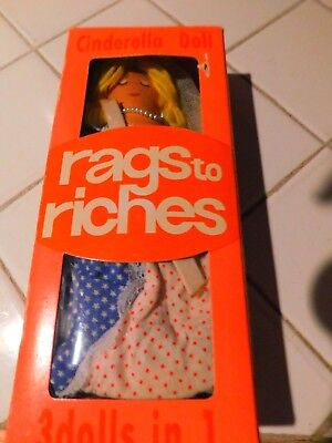 Cinderella Rags to Riches Reversible Plush Doll RARE FROM THE 70'S - Clothes From The 70s