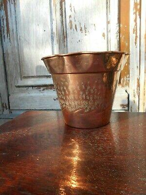 Vintage French copper plant pot/jardiniere marked  Villedieu L.LECELLIER