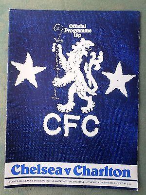 Chelsea v Charlton Athletic 1976/77 programme