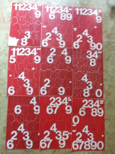 """9 SHEETS 2"""" TALL RED STICK-ON VINYL NUMBERS-See Description for Missing Ones"""