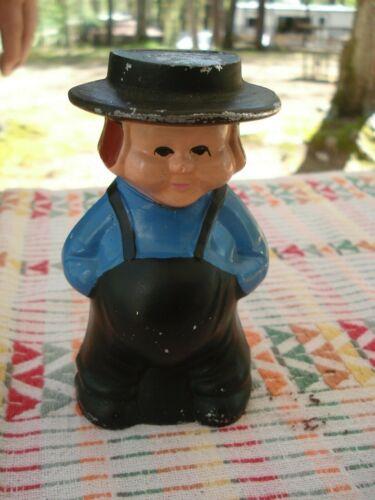 Vintage....Cast...Aluminium...Still...Coin..Bank...Amish...Boy