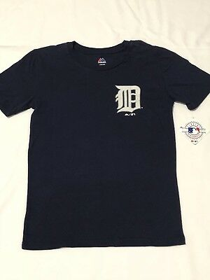 Detroit Tigers Dark Blue Baseball T Shirt Youth Large 14 16 Majestic
