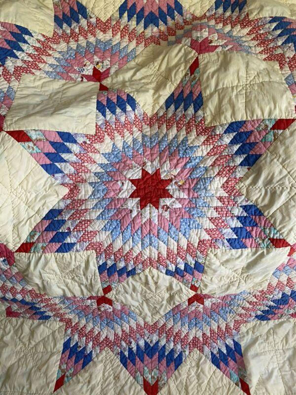 """Antique Double Starburst Cotton Quilt Ca 1930's  82""""x 88"""""""