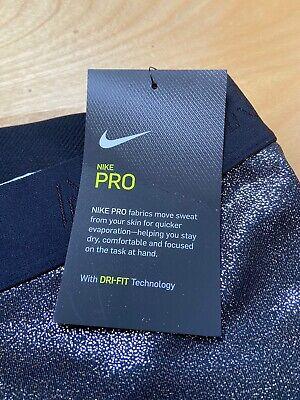 Ladies Nike Pro Black & Silver Metallic Leggings BNWT Size Xtra Small