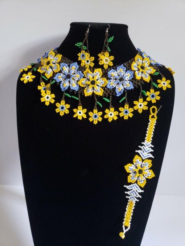 huichol beads,3 pcs set mexican women