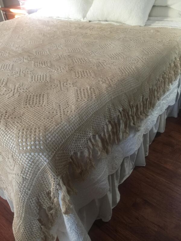 """Vintage French Crochet Bedspread Coverlet with 5"""" Fringe Border 81 x 82 BS1"""
