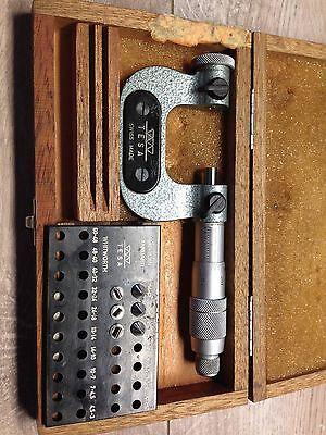 Nice Swiss Tesa 0 -1  .0001 Thread Micrometer Anvils Case
