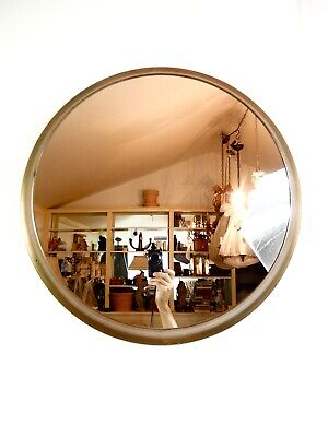 Vintage Round Copper Plated Framed Wall Mirror.  23 7/8