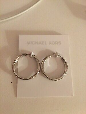 Michael Kors Brilliance Silver Hoop Earrings With Pave' Crystals NWT