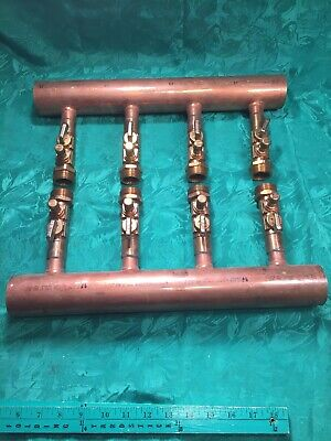 Wirsbo Upnor 4 Port 2 X 34 Inch Copper Manifold For Pex Piping Heating System