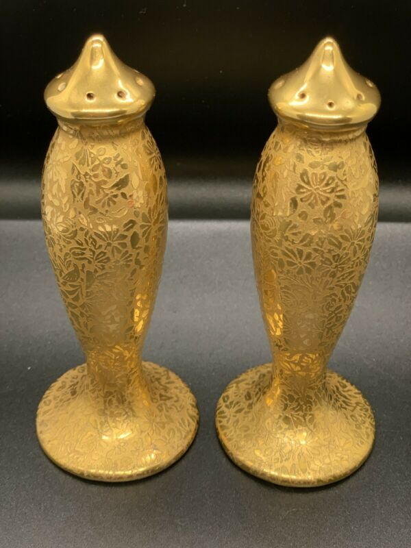 Vintage Tall Gold Etched salt and pepper shakers made in Japan