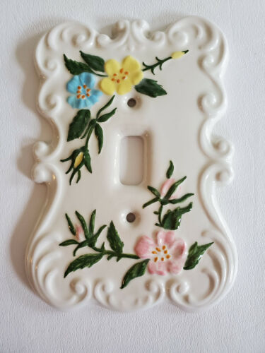 Ceramic SCROLL FLORAL LIGHT SWITCH COVER PLATE Pink Blue Yellow HOLLAND MOLD