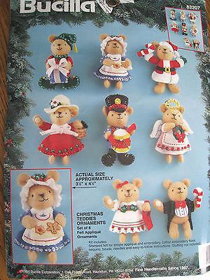 Bucilla Felt Applique Holiday Craft Tree Ornament Kit,CHRISTMAS TEDDIES,#83207