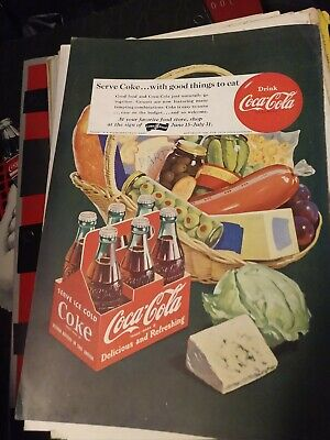 1951 Coca Cola COKE Ad - picnic basket - serve coke with good things to eat