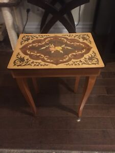 Vintage Italian Marquetry Wood Reuge Music Table Box