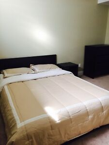 A spacious furnished room in basement with separate entrance