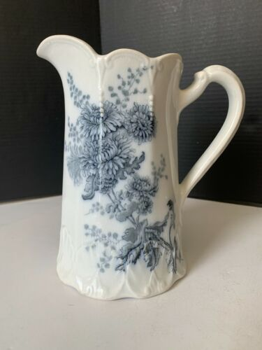 Antique Aesthetic Period Butterfly and Flower Transferware Serving Pitcher
