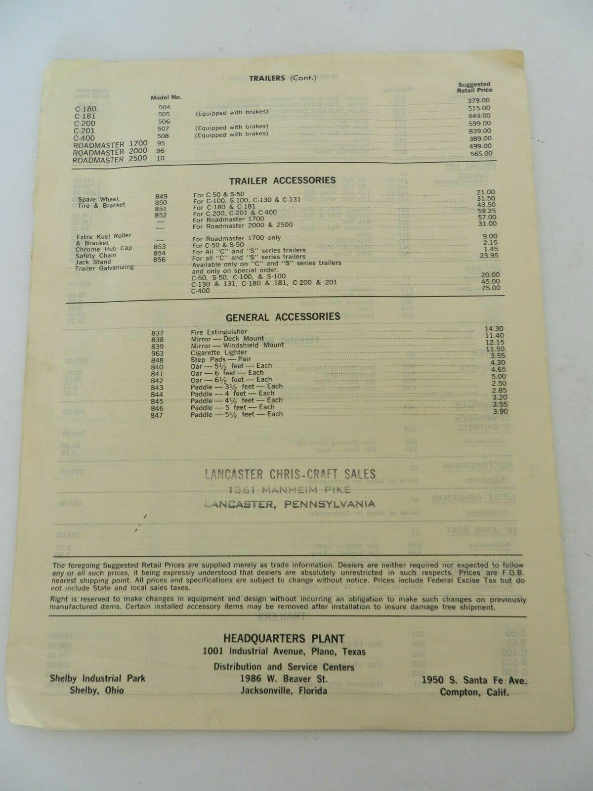 Vintage 1966 Chrysler Boat Corporation Retail Price List Fiberglass Boats 9747 - $12.96