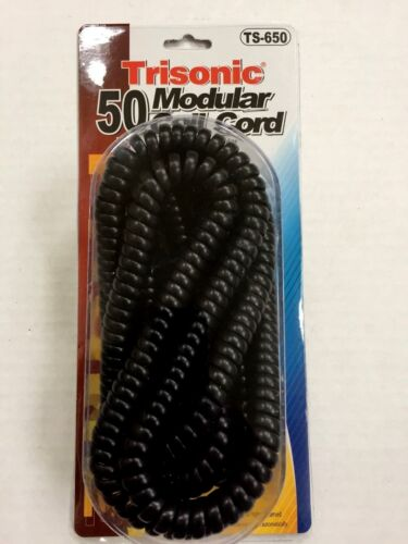50 Foot Modular Telephone Coiled Handset Cord Phone, 50