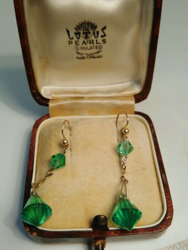 Vintage 9ct Gold Green Glass Paste Earrings