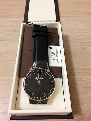 New! Daniel Wellington Classic Black Sheffield Women's Rose Gold Watch 36mm!