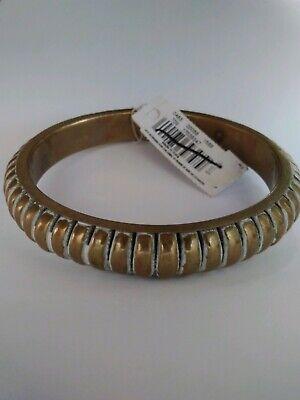 Ladies Bangle Bracelet Gold Tone Ribbed White Shading Armband American Eagle (Gold Arm Bands)